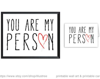 You are my person, digital art print and printable card for wedding anniversary, love card, gift for couples, JPG, PDF, instant download