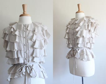Vintage 1970s Beige Chiffon Tiered Ruffle Top