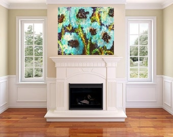 24 x 36 blue poppies (canvas painting)