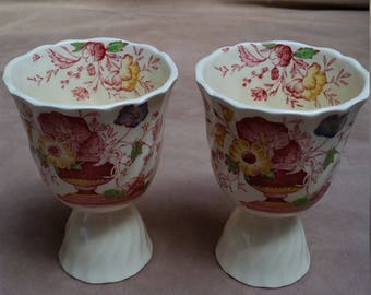 Set of Two Double Egg Cups, Royal Doulton Made in England, Pomeroy Pattern. Vintage Chintz.