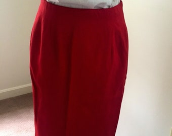 80s vintage red pencil skirt/size S/ Pappagallo