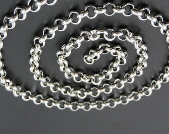 6mm Antique Silver Rolo Chain