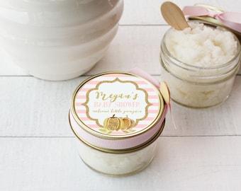 Set of 12- 4 oz - Sugar Scrub Favors - All-Natural, Vegan - Pumpkin Baby Shower Favors | Little Pumpkin Baby Shower | Gold Pumpkin Shower
