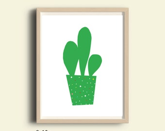 Cactus decor, printable cactus wall art, cactus print, cactus instant download print, cactus kids room decor, cactus plant, green cactus art