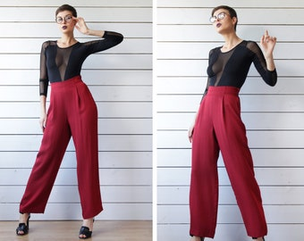 Vintage wine red shiny high waist trousers pants L
