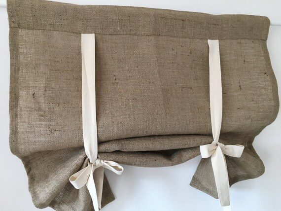 Burlap curtains country kitchen tie up valance rustic window for Country farmhouse window treatments