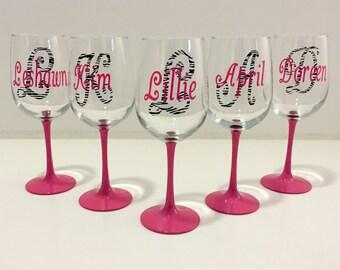 Personalized Zebra Print Wine Glass