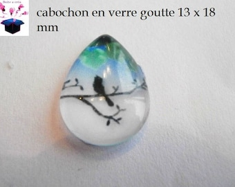 1 cabochon clear drop 13 x 18 mm