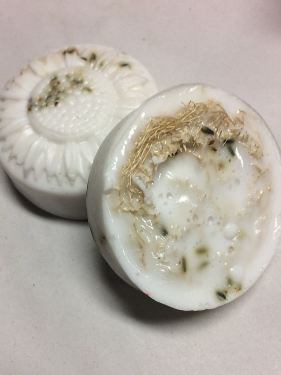 Loofa and Lavender Goat's Milk Soap -  one bar  -  castile soap - hand soap - homemade soap - natural soap - goat milk soap