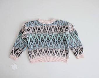 cropped pastel sweater | pastel pink and blue sweater | diamond sweater