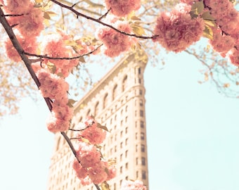 New York City Photograph, Flatiron Building, Large Apartment Wall Art, New York City Apartment, Cherry Blossoms Print, New York in Spring