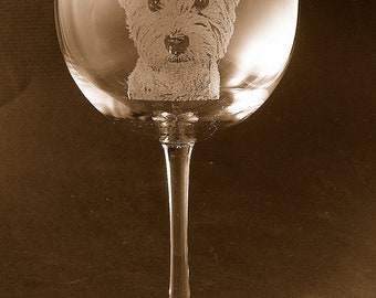 Etched West Highland Terrier / Westie on Elegant Wine Glass (set of 2)