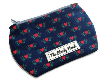 Mini Zipper Pouch Red Hearts Zipper Storage Pouch Scissor Case / Coin Purse / Lipstick Case / Notions Pouch S168