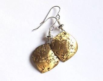 Brass petal earrings Mixed metal drops Mixed media sterling silver and gold wire dangles Metalwork jewelry