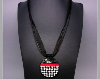 Black necklace small pop of Red houndstooth pattern white screen print