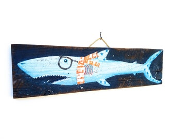 Hipster Shark-Personalize and Adopt This Original Art Item-Decor OOAK Home Goods Beach Art on Reclaimed Wood Mangoseed