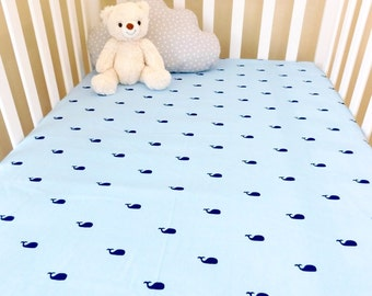 Whales Nautical crib sheet, Baby fitted sheet, Nautical nursery, nautical bedding, baby nursery on the beach, Whales baby nursery