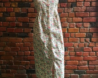 90s White Dress with Foral Print, Pleated Neckline Top, Collar, Waist Tie 1972