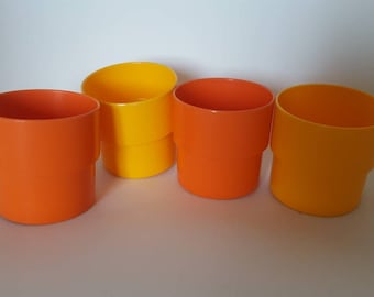 Plastic orange and yellow glass