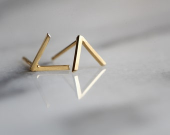 READY TO SHIP.Mountain studs.  Silver or gold geometric earrings, V shaped . 22k gold over silver.