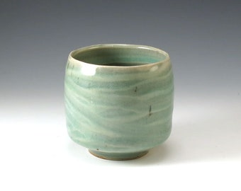 Stoneware Ceramic Pottery Tea Cup Yunomi Handmade Tea Bowl Mug in Celedon Green - M115