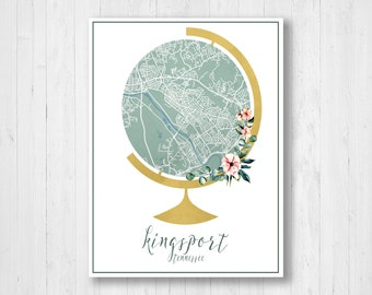 Kingsport map art Etsy