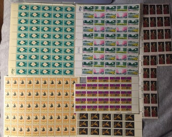 SALE USA 1960s Stamp Collection Mint Uncirculated Entire Sheets Ladybird Johnson Beautification of America Sheet and LOTS more!