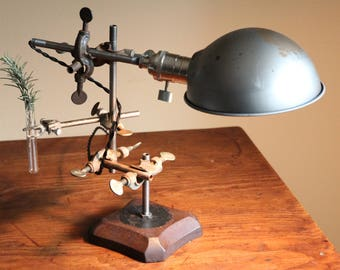 Science industrial steampunk lamp decor desk table lighting elegant unique gift, steel parabolic shade salvaged chemistry biology apothecary