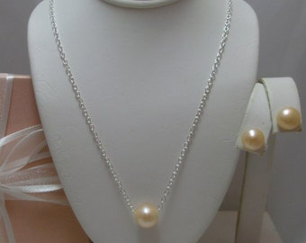 Large Floating Solitaire Pearl Necklace and earrings set