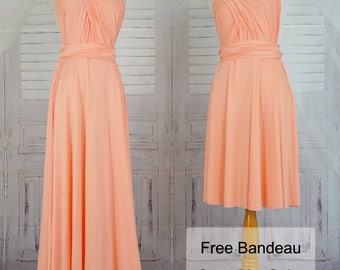 Peach Bridesmaid Dress Wrap dress Convertible Infinity Dress Evening Dress-B30#C30#