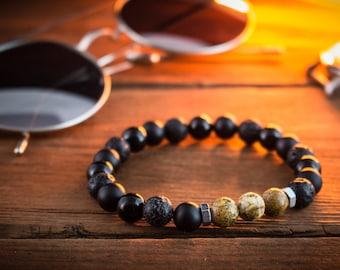 8mm - Black onyx, lava stone & jasper stone beaded stretchy bracelet, made to order lava bracelet, mens bracelet, womens bracelet