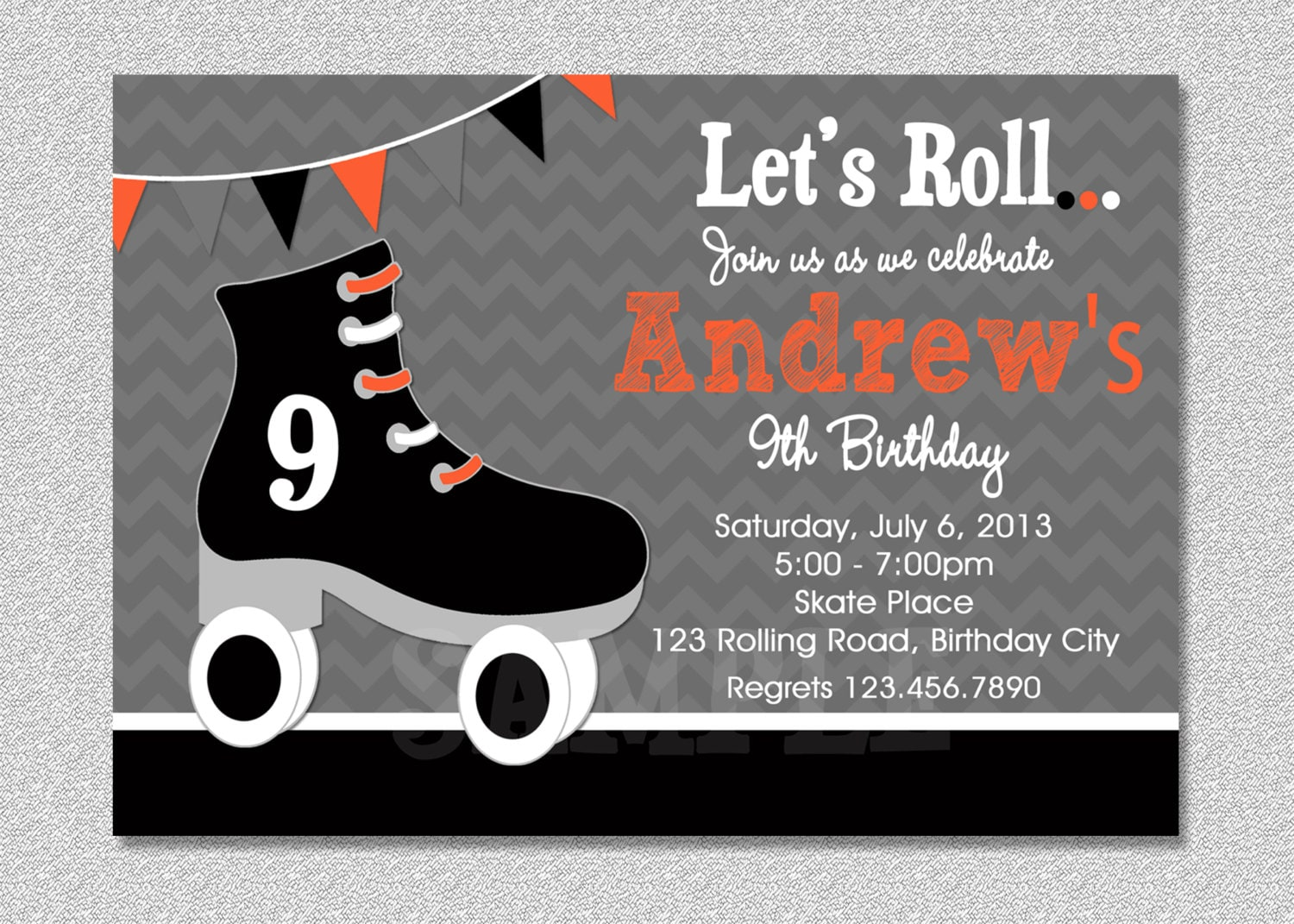 Boys Skating Birthday Invitation Boys Roller Skating