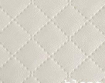 1 x coupon leatherette 50x68cm Plaid patchwork sewing cream ecru