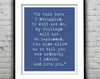 Mr Darcy Jane Austin Love Quote Typography Art Print Quote Item G1011
