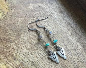 Arrowhead turquoise labradorite earrings, stainless steel earrings