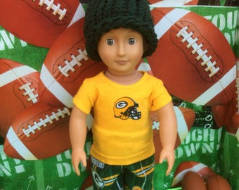 Green Bay,PACKERS! 18 Inch Doll Clothes, Handmade, Fits All18 inch Doll. 3 pc Outfit