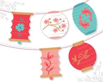 Paper Lanterns Banner, DIY Printable PDF Digital Download for Scrapbook, Party Decorations and more