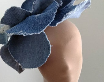 Very distressed denim oversized rosette headband