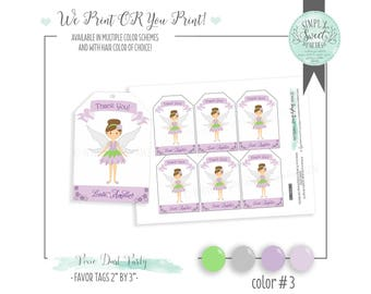 PIXIE DUST favor tags. printable diy PDF file. Includes hair color and color scheme of choice! Printed or you print available