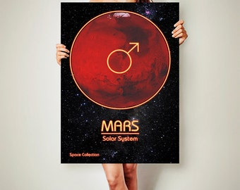 MARS Space CANVAS Poster Solar System Art Mars Space Poster Solar System Neon Light Poster Space Art Space poster
