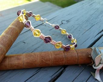 Purple Velvet and Citrine Swarovski Crystal Wire Wrapped Bracelet (Bwc0302)