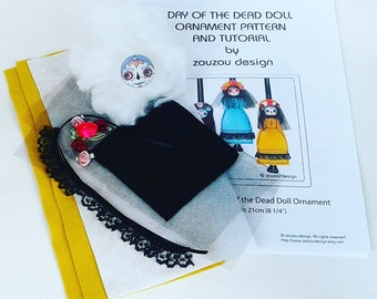 Day of the Dead Doll Ornament Kit, DIY Sugar Skull Ornament, Doll Sewing Kit, Creepy Cute Felt Doll Kit,
