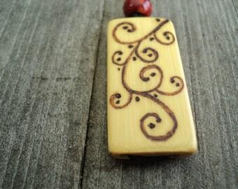 Wooden Bamboo Tile Pendant, Flourish Swirl Design, Adjustable Necklace, Natural Jewelry, Wood Jewelry