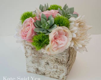 Rustic centerpieces etsy succulent centerpiece wedding centerpiece rose and dahlia wedding centerpiece rustic centerpiece birch junglespirit Choice Image