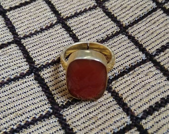 Red Onyx Ring, Gold Plated Ring, Handmade Ring, Adjustable Ring, Red Stone Ring, Fashion Ring, Brass Ring, Women Ring