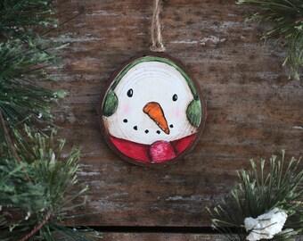 Snowman Ornament, Personalized Ornament, Wood Slice Ornament, Hand Painted Ornament, Country Christmas Decor, Snowman Folk Art