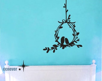 Love birds whisper 38in H----Removable Graphic Art wall decals stickers home decor