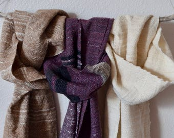 Choose One! Rustic Farm Chic Handspun Handwoven Rustic Wool Mix Scarves - CVM Caramel, Rusty Red & Black, Snow Fir in White Textured Wool