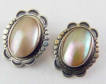 Native American Sterling Silver and Mother of Pearl - Clip On