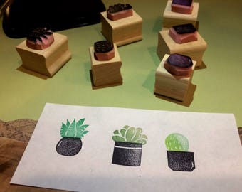 Succulent rubber stamp set // hand carved and hand crafted